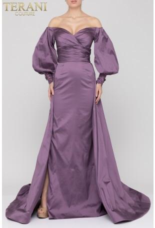 Purple Balloon Sleeve Gown by Terani