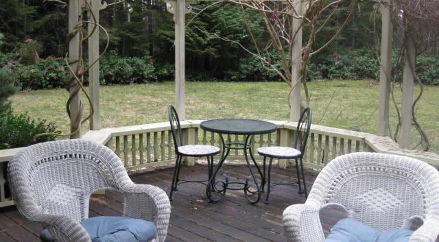 Back deck over looking Garden.