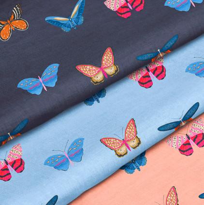 Cotton Fabric 2 - 3 butterfly patterns.j