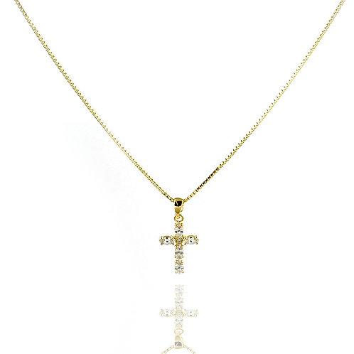 Gargantilha Crucifixo Banhada a Ouro 18k