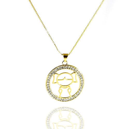 Gargantilha Mandala Menino ou Menina Banhada a Ouro 18k