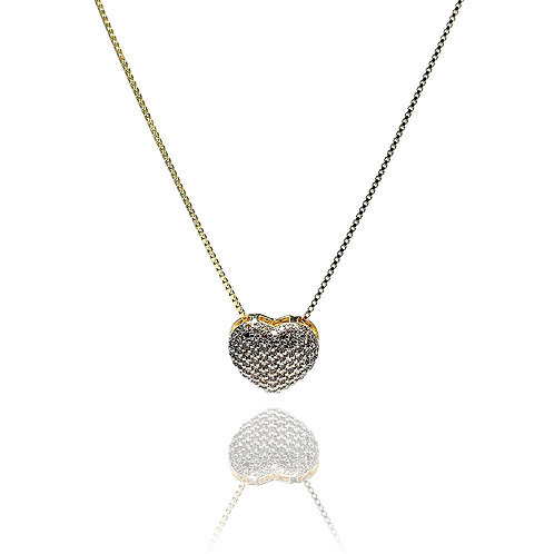 Gargantilha Coração Cravejado em Zircônia Cristal Banhada a Ouro 18k