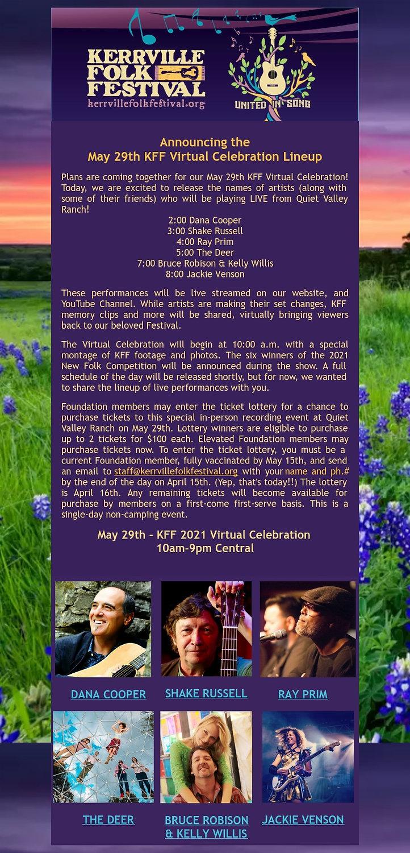 May 29th Virtual Celebration LineUp Anno
