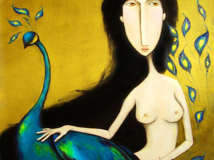 Uma moça com um pavão