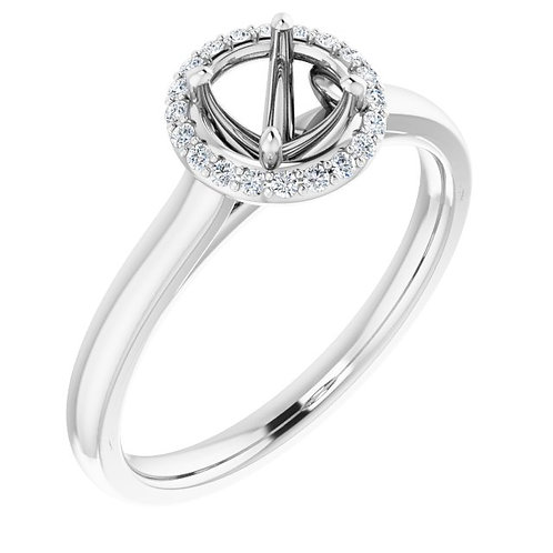 14K White 5.2 mm Round .08 CTW Diamond Semi-Set Engagement Ring