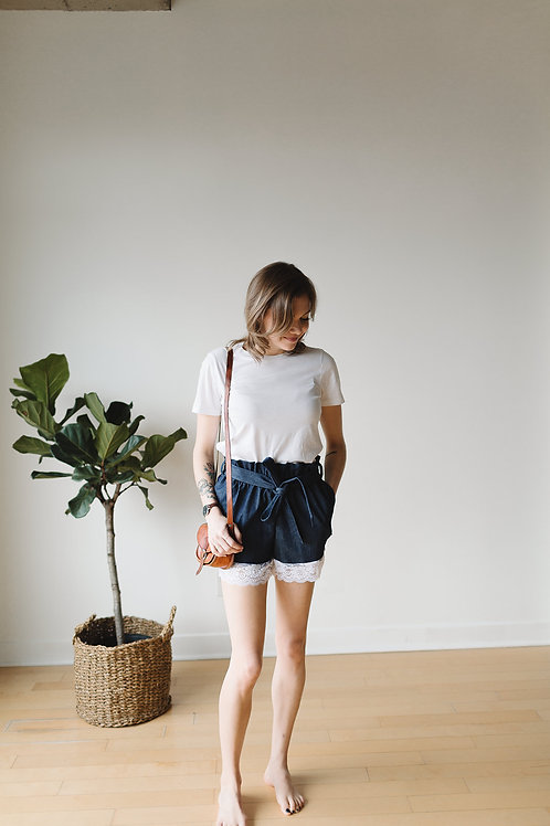 Shorts paperbag denim / Paperbag shorts denim