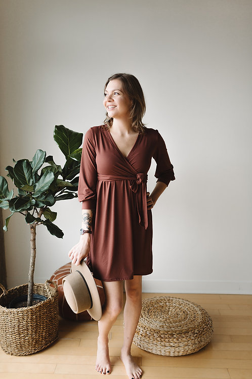 Robe wrap cannelle / Wrap dress cinnamon