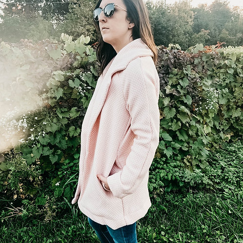 Copie de Manteau-cardigan rose et blanc