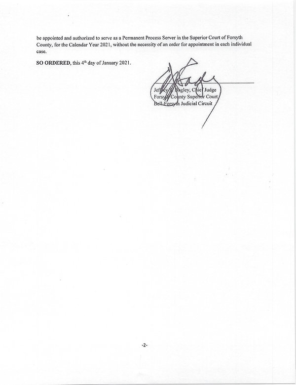 Forsyth County Georgia Process Server Order