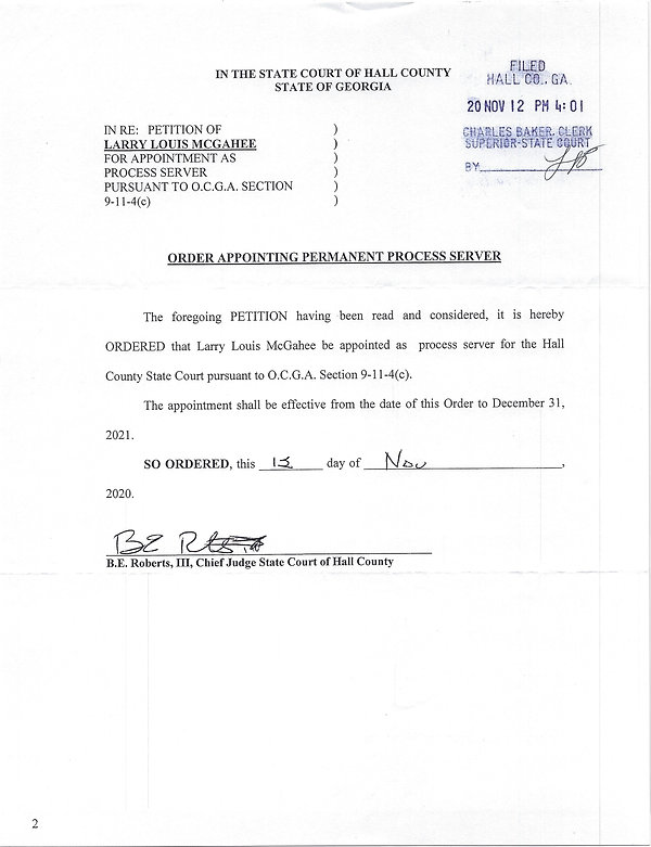 Hall County State Court Process Server Order