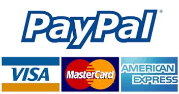 PayPal Credit Card, Master Card, Visa, American Express