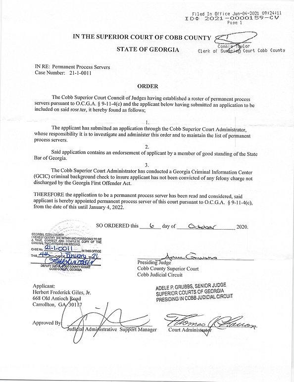 Cobb Conty Georgia Superior Court Process Server
