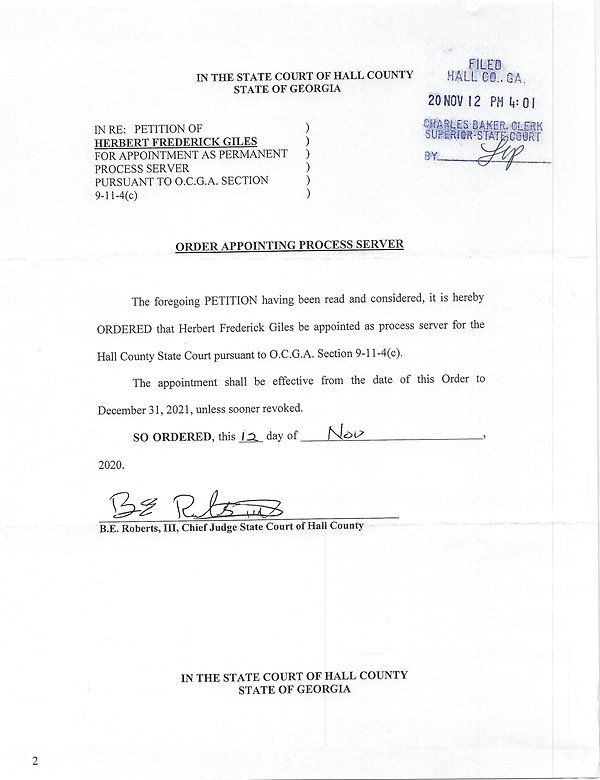 Hall State Court Process Server Georgia