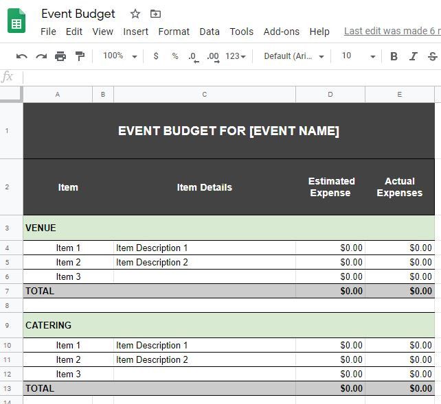 Organize your checklist by category, item, item details, estimated expenses, and actual expenses.