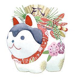 和風イラスト「干支・戌」水彩画:正月の絵・福井良佑