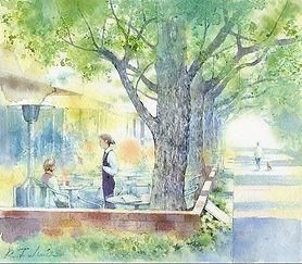 「新緑の憩い」神宮外苑銀杏並木道沿いのカフェにて:水彩画