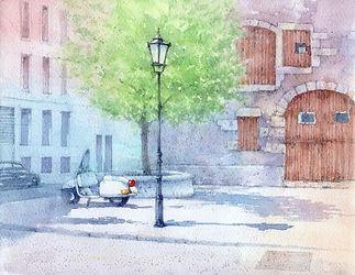 水彩画「穏やかな午後(スイスレマン湖畔の街、ニオンにて)」福井良佑
