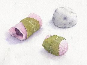 「お彼岸の和菓子」水彩画