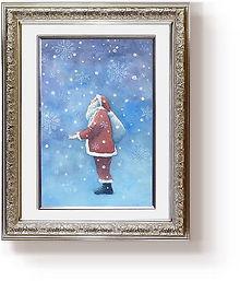 「White Christmas」額装した水彩画