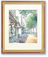 「新緑の港町」横浜:額装した水彩画