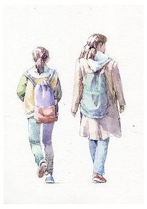 人物の水彩画「姉妹」歩く後姿 / 福井良佑