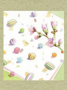 和風イラスト「京飴と桃の花」水彩画・福井良佑