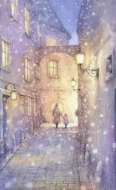 海外風景「ある雪の朝(ウィーン)」水彩画・福井良佑