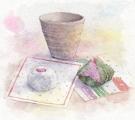「茶と和菓子(桜餅)」水彩画・福井良佑