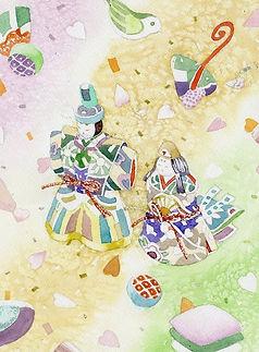 「ゆめあそび」水彩画:雛人形と節句飾り
