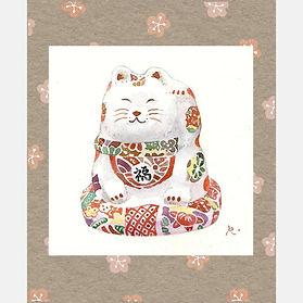 和風イラスト「笑い猫」水彩画・福井良佑