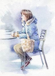 人物の水彩画「カフェ」福井良佑