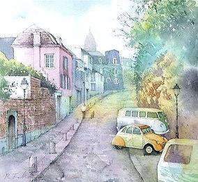 海外風景「朝の散歩道(パリ・モンマルトル)」水彩画・福井良佑