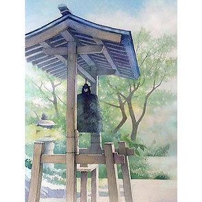 水彩画・日本の風景「緑陰(鎌倉・覚園寺)」福井良佑