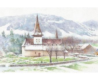 海外風景「春を待つ(スイス・ラウターブルネン) 」水彩画・福井良佑
