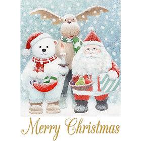 Happy visit 水彩画イラスト:サンタと雪だるまの訪問