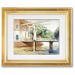 「橋のある風景」額装した水彩画