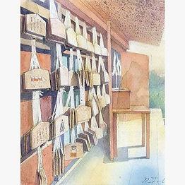 水彩画、日常の一コマ「願いごと(鎌倉・荏柄天神社)」福井良佑