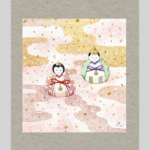 和風イラスト「春うらら 」水彩画:雛人形をモチーフに春の雅を描く・福井良佑