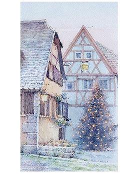 海外風景「クリスマス イブ(ドイツ・ローテンブルグ)」水彩画・福井良佑
