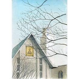 水彩画、日常の一コマ「ふと見た青空」見上げたら教会の屋根の上はキレイな青空だった;福井良佑