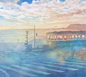 慕照 湘南(江ノ電・鎌倉高校前駅  そばの踏み切り):水彩画・福井良佑