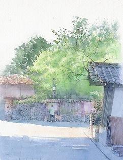 水彩画・日本の風景「朝の散歩道」(京都東山・ねねの道)福井良佑