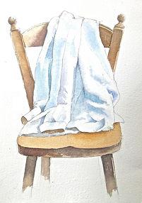 水彩画、日常の一コマ「白いシャツ」福井良佑