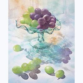 水彩画・静物「グラスウェアの葡萄 」 福井良佑