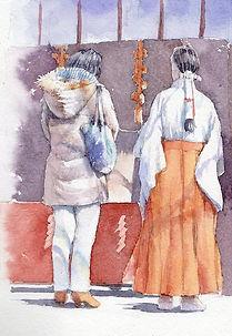人物の水彩画「祈願(鎌倉・荏柄天神社)」福井良佑