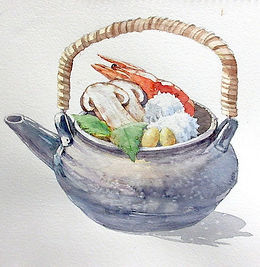 「土瓶蒸し」水彩画