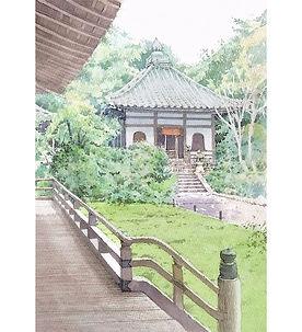 水彩画・日本の風景「寂光(京都・青蓮院)」福井良佑