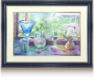 「窓辺の微風」額装した水彩画
