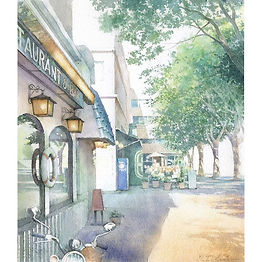 「新緑の港町 」水彩画:横浜の大桟橋のすぐ近く、新緑の季節がよく似合う