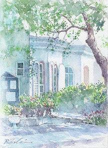 朝の光(横浜・山手):水彩画